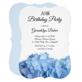 Blue Hydrangea Birthday Party for Her Invitation