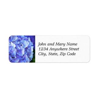 Blue Hydrangea Bloom Floral Return Address Label