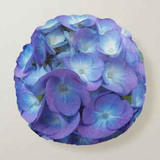 Blue Hydrangea Blossoms Floral Photo Round Pillow