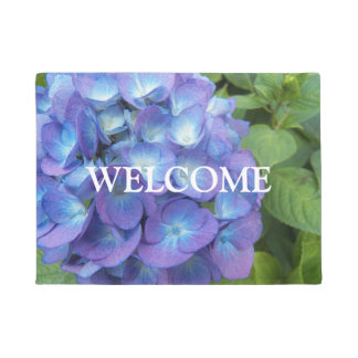Blue Hydrangea Blossoms Floral Welcome Doormat
