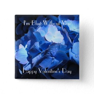 Blue Hydrangea: Blue Without You - Button #1 button