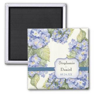 Blue Hydrangea Bracket Floral Formal Wedding 2 Inch Square Magnet