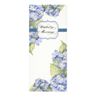 Blue Hydrangea Bracket Floral Formal Wedding Personalized Announcements