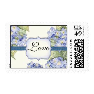 Blue Hydrangea Bracket Floral Formal Wedding Postage Stamp
