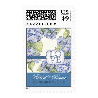 Blue Hydrangea Bracket Floral Formal Wedding Stamp
