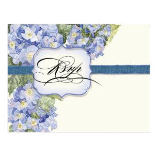 Blue Hydrangea Bracket Floral Formal Wedding Postcard