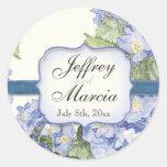 Blue Hydrangea Bracket Floral Formal Wedding Classic Round Sticker