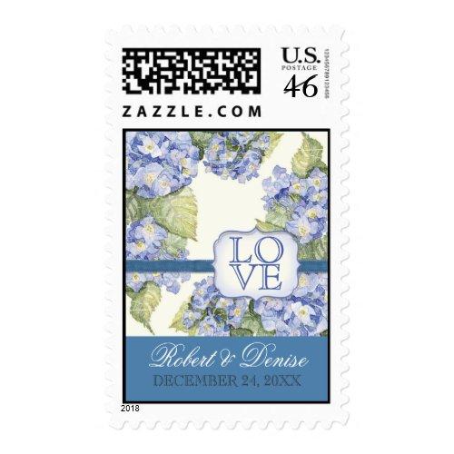 Blue Hydrangea Bracket Ribbon Wedding Love Postage stamp