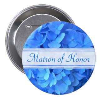 Blue Hydrangea Bridal Party Button