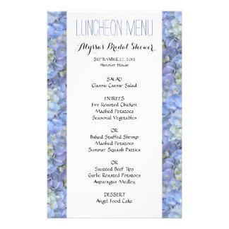 Blue Hydrangea Bridal Shower 5x8 Luncheon Menu