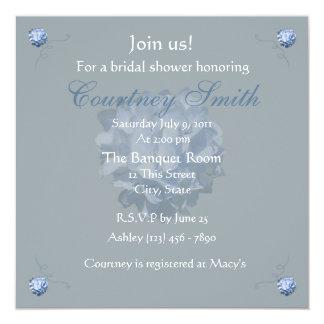 """Blue Hydrangea Bridal Shower invitation 5.25"""" Square Invitation Card"""