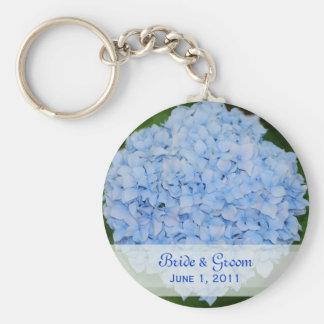 Blue Hydrangea Bride & Groom Keychain