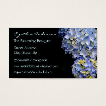 Professional Business Blue Hydrangea Business Cards