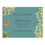 Blue Hydrangea & Butterfly Save The Date Post Card