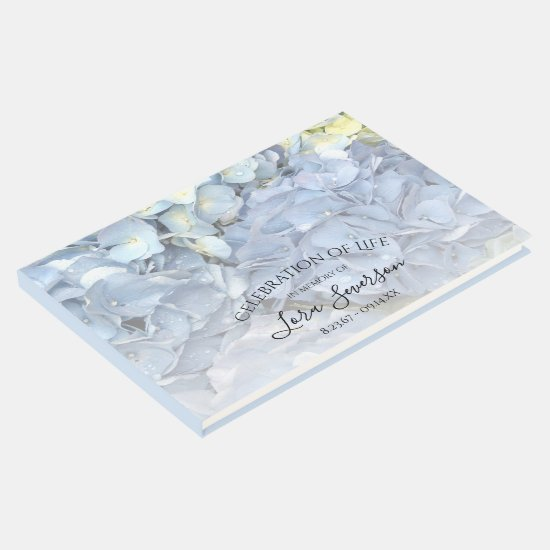 Blue Hydrangea Celebration of Life Memorial Guest Book