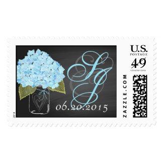 Blue Hydrangea Chalkboard Mason Jar Wedding Stamp