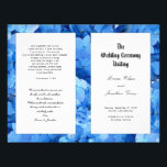 """Blue Hydrangea Christian Catholic Wedding Program<br><div class=""""desc"""">Folded (by customer) wedding program template made for a long, Catholic ceremony lets you add lots of text to all four pages. Bright blue hydrangea flowers make a pretty floral background with white panels to hold the black, template text. Christian scripture or a verse can be added to the back...</div>"""