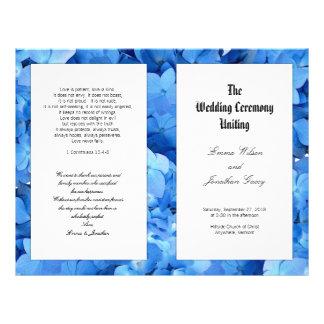 Blue Hydrangea Christian Catholic Wedding Program