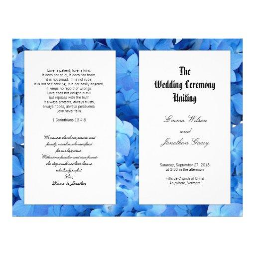 Blue Hydrangea Christian Catholic Wedding Program Flyers