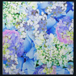 """Blue Hydrangea Cloth Napkins<br><div class=""""desc"""">An artistic collage of various photos of Hydrangeas, one of the artist&#39;s favorite flowers. Blue, floral and pretty, a great gift or personal accessory for those who love flowers or spending time in the garden. The art can be found on various products through Polka Dot Studio, custom made and one...</div>"""