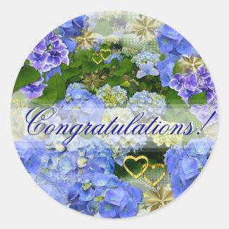 BLUE HYDRANGEA ~  Congratulations ~ Stickers