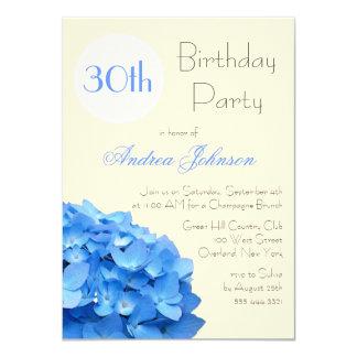 Blue Hydrangea Custom Birthday Party Invite