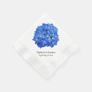 Blue Hydrangea Custom Floral Paper Napkins