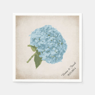 Blue Hydrangea Custom Wedding Napkins Standard Cocktail Napkin