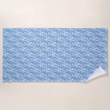 Beach Themed Blue Hydrangea Floral Beach Towel
