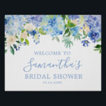 "Blue Hydrangea Floral Bridal Shower Welcome Poster<br><div class=""desc"">Custom Blue Hydrangea Floral Bridal Shower Welcome Posterfor your wedding day!</div>"