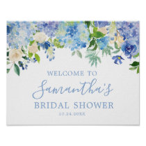 Blue Hydrangea Floral Bridal Shower Welcome Poster