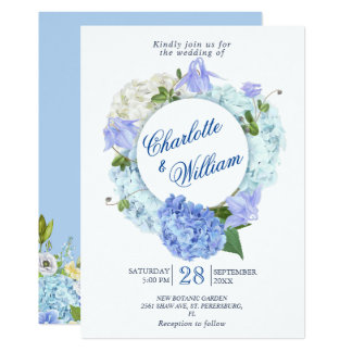 Blue Hydrangea Floral Greenery  Watercolor Wedding Invitation