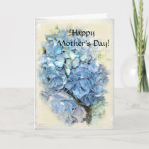 Blue Hydrangea Floral Happy Mothers Day Card