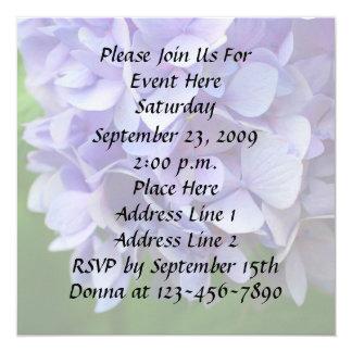 """Blue Hydrangea Floral Invitation 5.25"""" Square Invitation Card"""