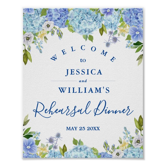 Blue Hydrangea Floral Rehearsal Dinner Sign