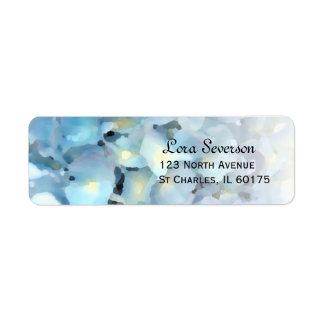 Blue Hydrangea Floral Return Address Labels