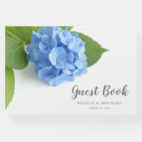 Blue Hydrangea Floral Wedding Guest Book