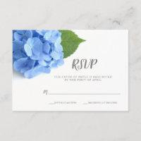 Blue Hydrangea Floral Wedding RSVP