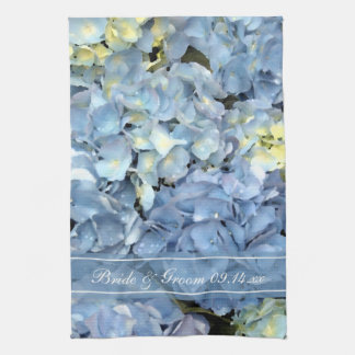Blue Hydrangea Floral Wedding Save the Date Kitchen Towel