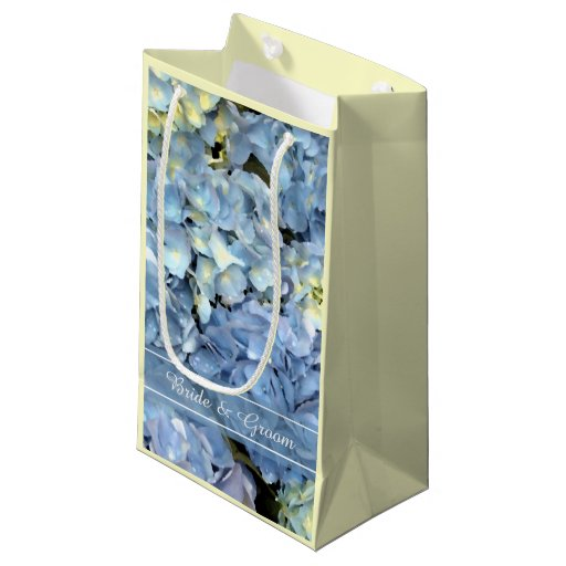 Blue Hydrangea Floral Wedding Small Gift Bag | Zazzle