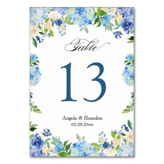 Blue Hydrangea Floral Wedding Table Number