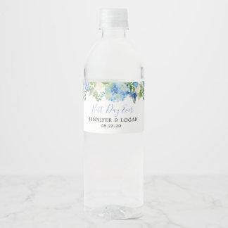 Blue Hydrangea Floral Wedding Water Bottle Label