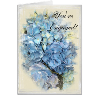 Blue Hydrangea Flower Engagement Card