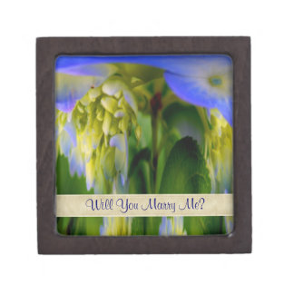 Blue Hydrangea Flower Engagement Ring Gift Box