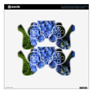 Blue hydrangea flower in bloom 2 PS3 controller skin
