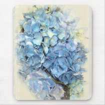 Blue Hydrangea Flower Mouse Pad