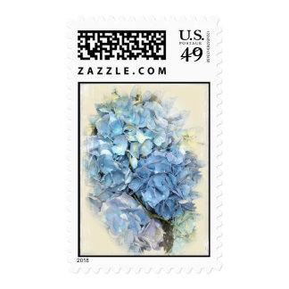 Blue Hydrangea Flower Postage Stamp