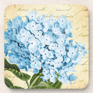 Blue Hydrangea Flower Vintage Botanical Beverage Coaster