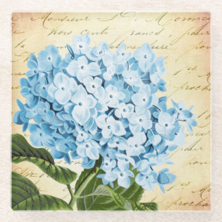 Blue Hydrangea Flower Vintage Botanical Glass Coaster