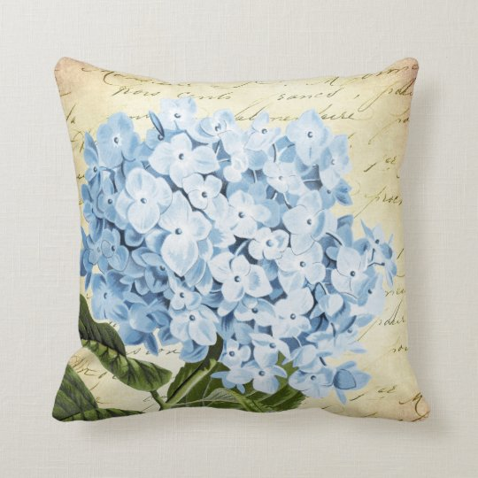Blue Hydrangea Throw Pillow : Blue Hydrangea Flower Vintage Botanical Throw Pillow Zazzle